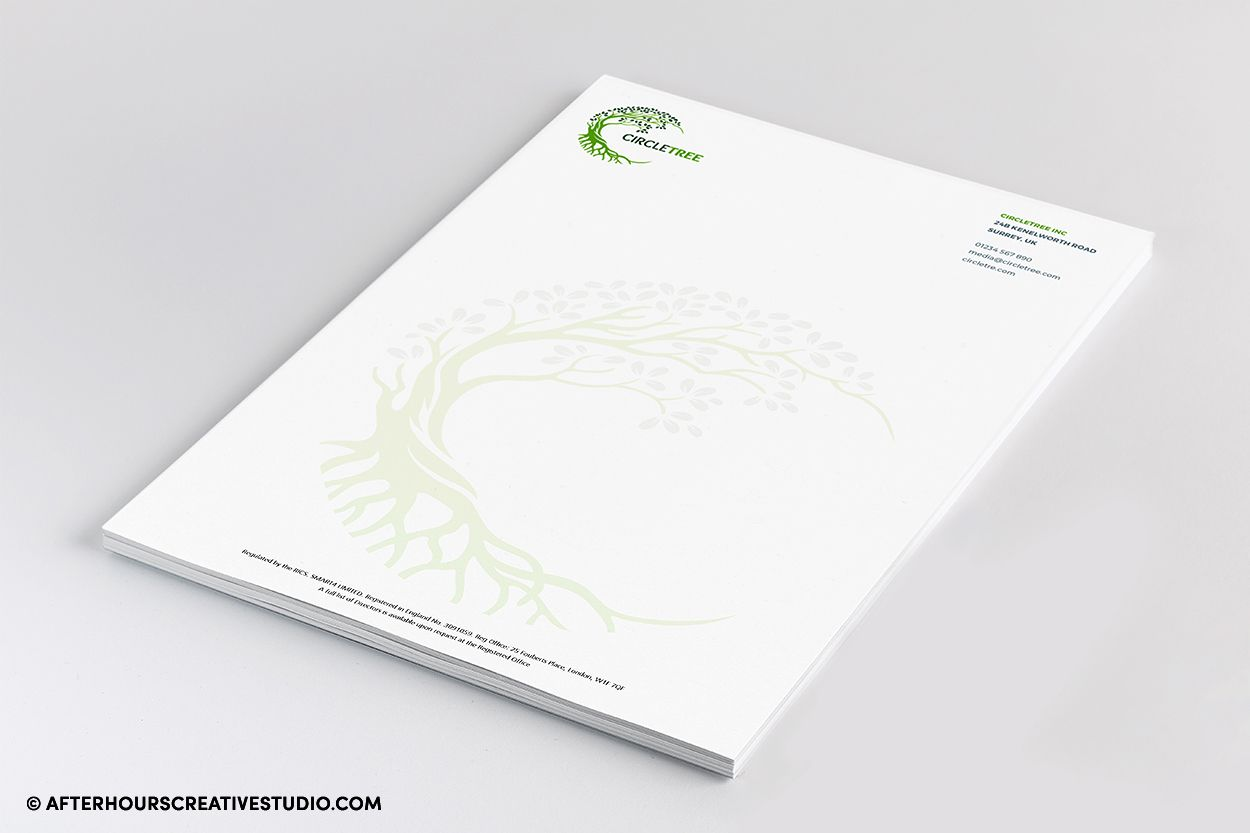 Professional A4 letterheads with full-colour printing on 120gsm.