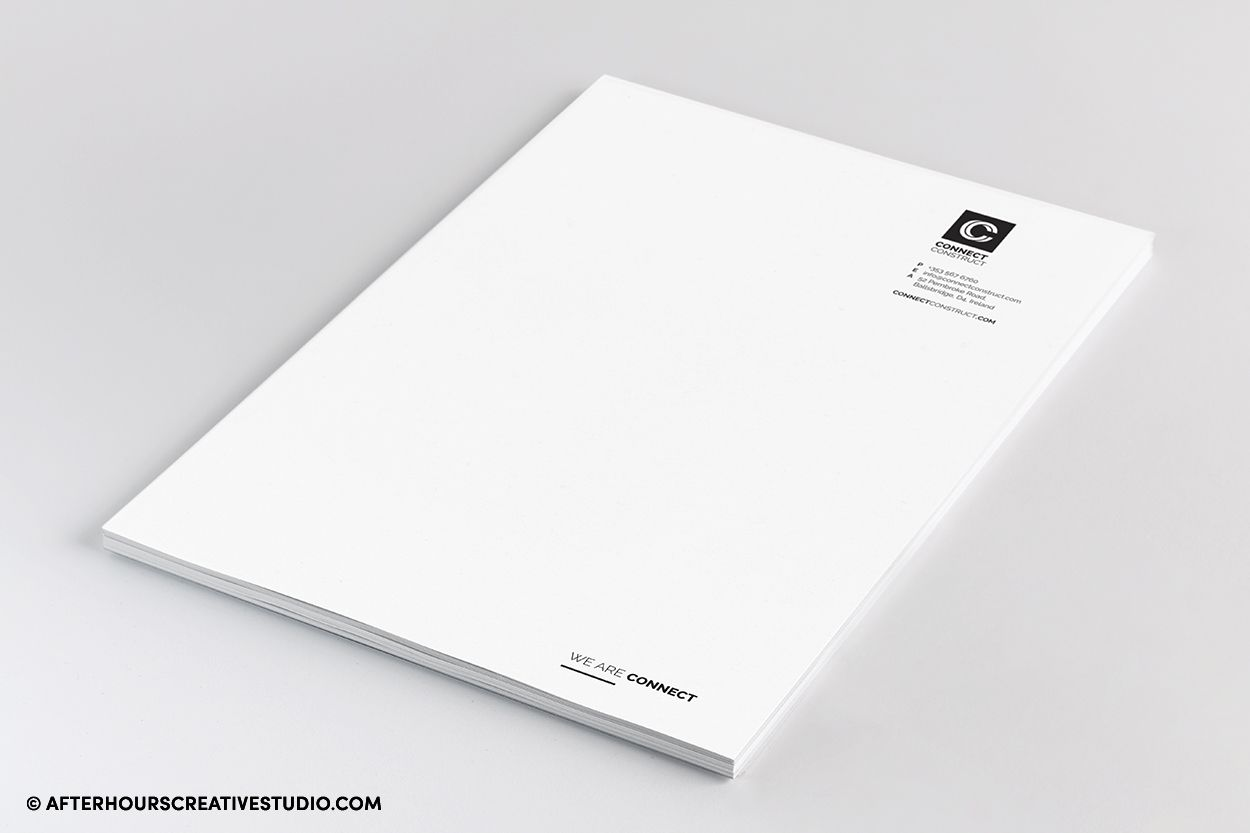 Classy A4 letterheads with full-colour printing on 160gsm.
