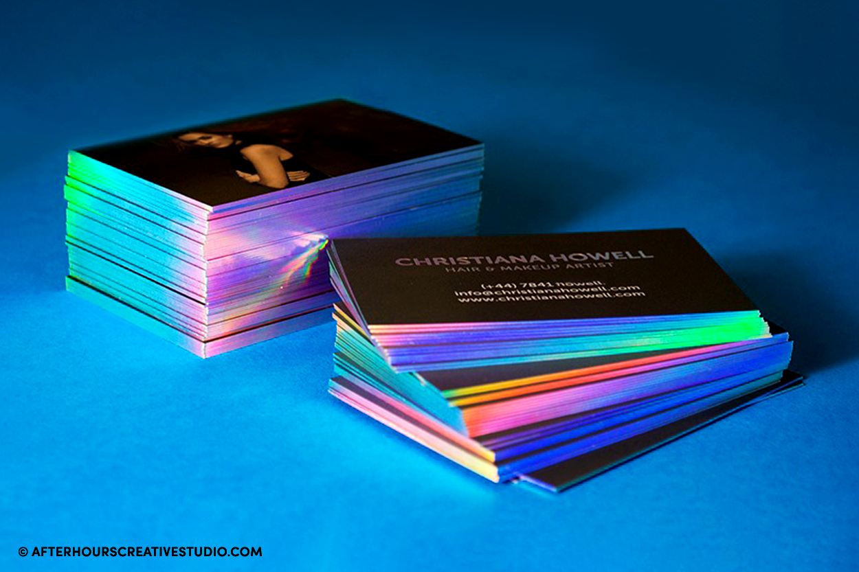 Holographic Foil Edge Gilded Business Cards