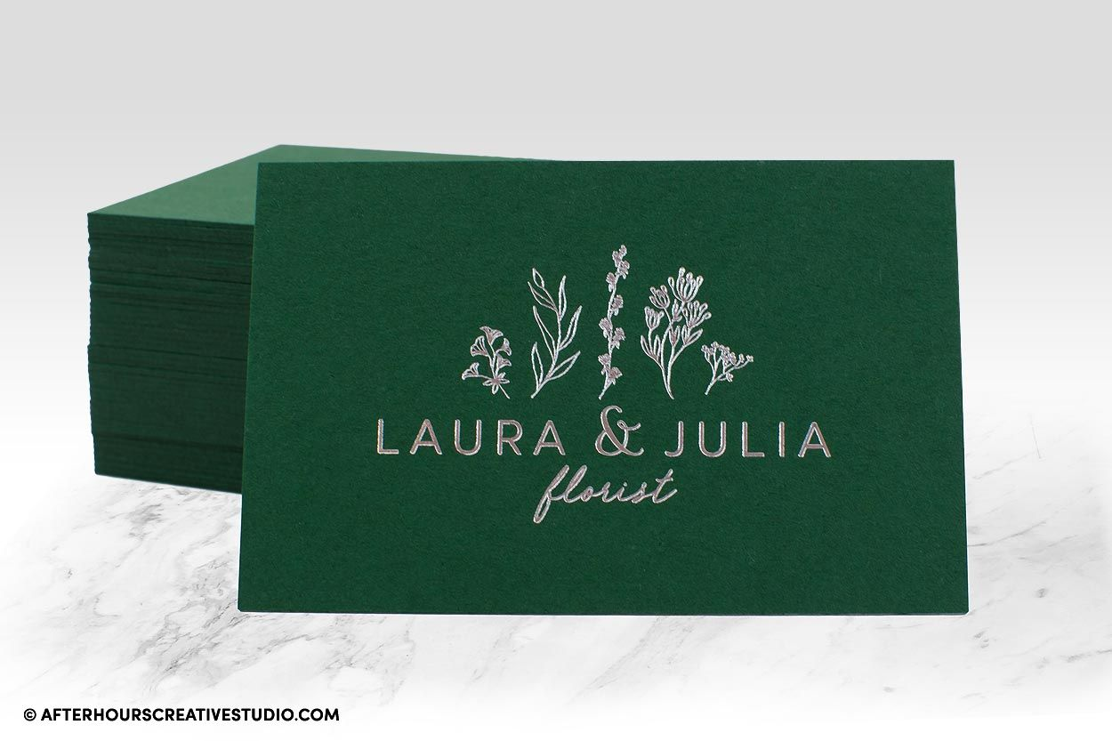 Colorplan Duplexed 540gsm Business Cards, Forest Green stock with metallic silver foil blocking.