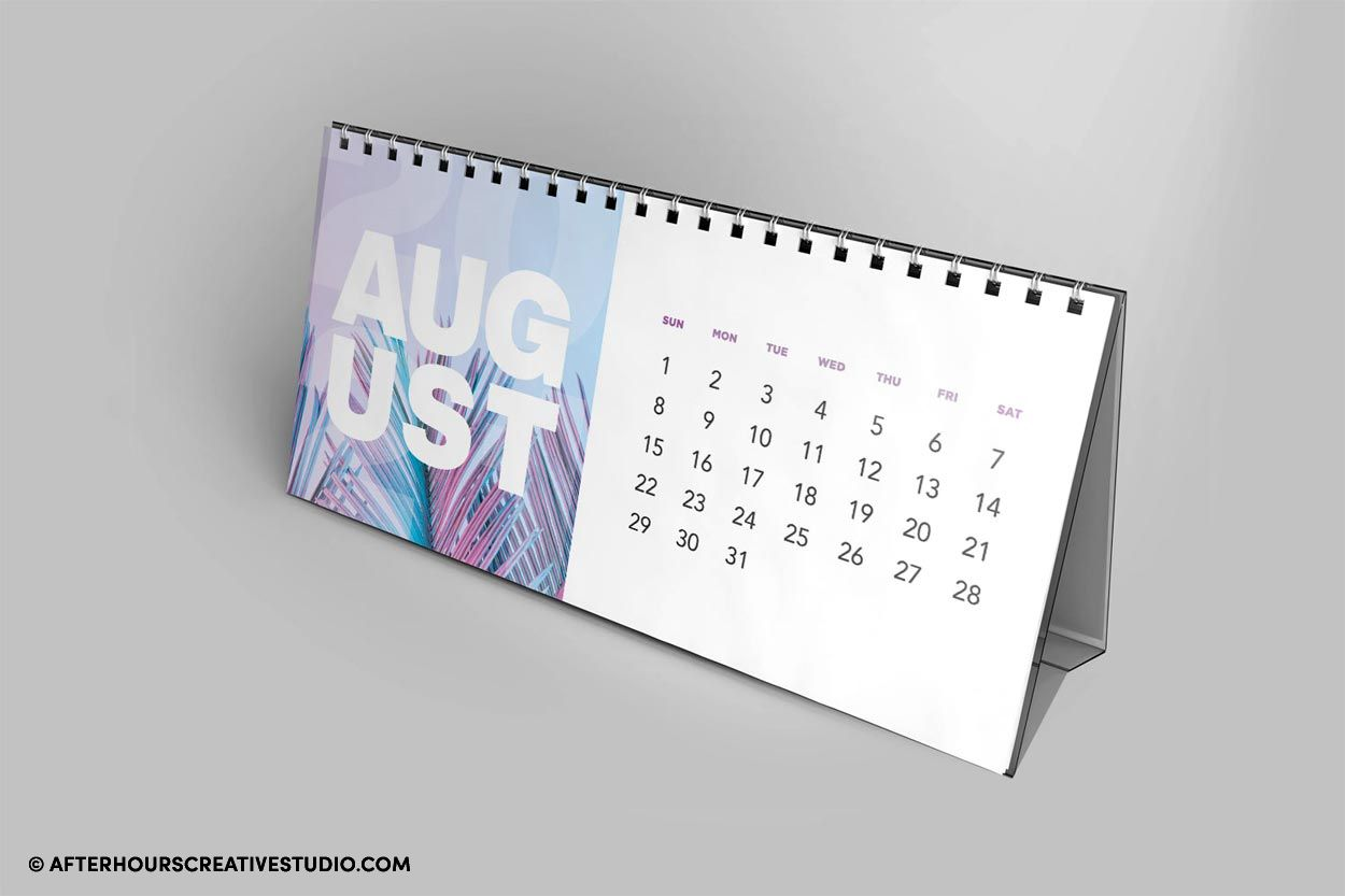 Desk calendar printing with built in struct card holder.