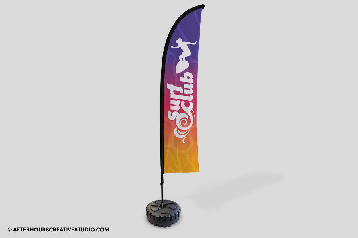 Feather Flags with durable aeomesh material, with single-sided printing.