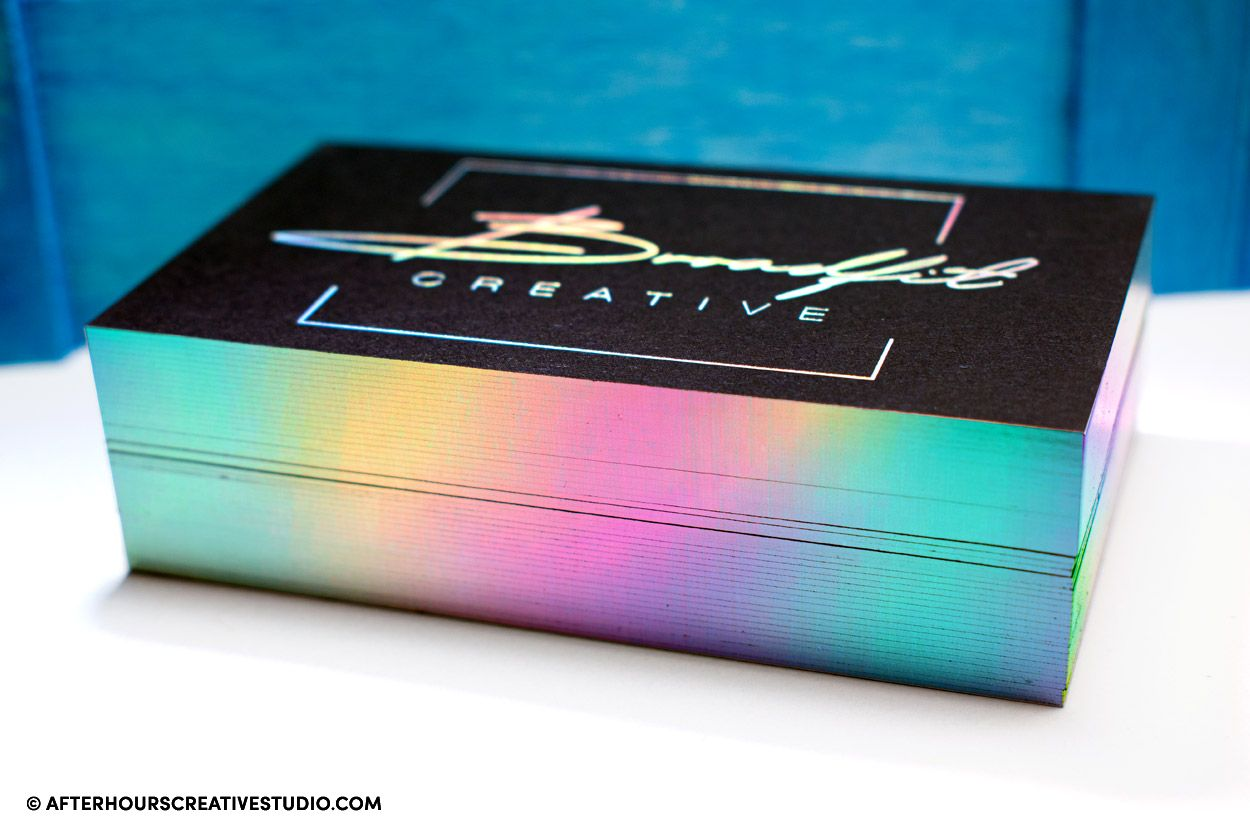 holographic foil edge vanguard business card