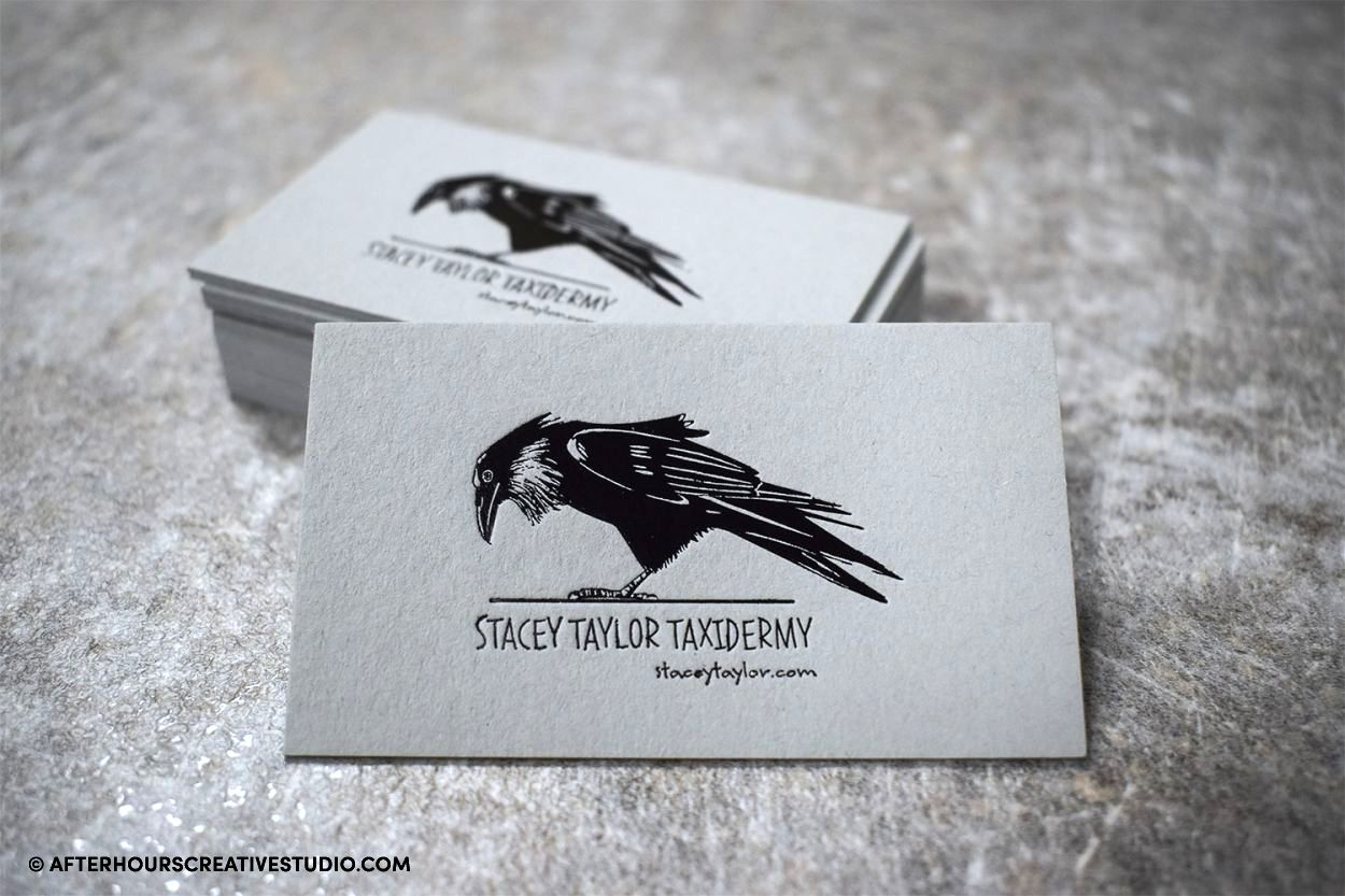 GMUND Heidi Faded Grey Business cards with black gloss foil blocking.