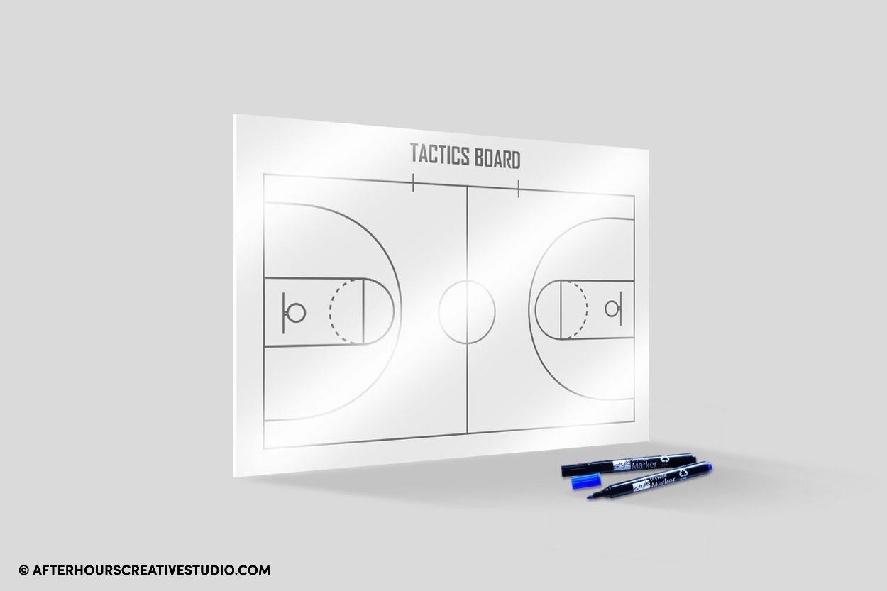 Whiteboard with single-sided printing.