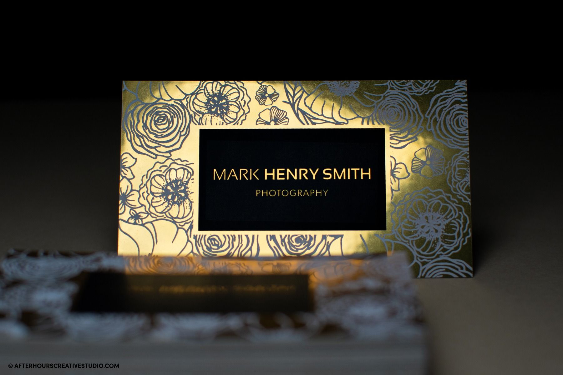 Gold Metallic Mirror Finish Business Cards, with black and white ink printing, 330gsm.