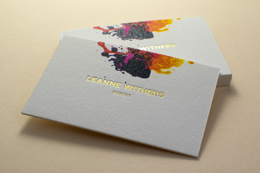 Cotton 600gsm business cards with digital printing and gold metallic foil blocking.