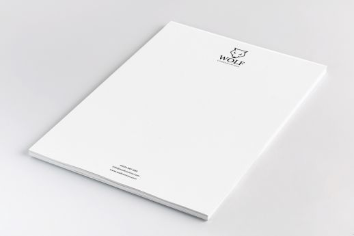 A4 letterheads with full colour printing on 90gsm stock.