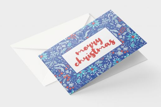 Silk Greeting card with full colour printing, A paper size, with envelope.