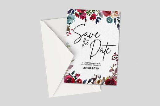 Silk IA size Invitation with single-sided printing and envelope.