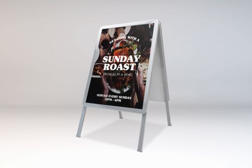 Silver A-Frame  30 X 40 signage with full colour graphic.