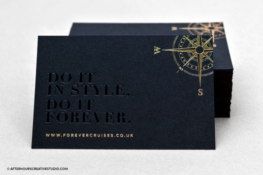 Black business card with black gloss foil and gold foil