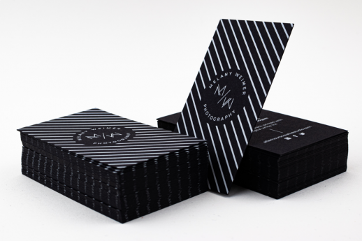 Black Business Cards 500gsm, with black edges printed with digital white ink.