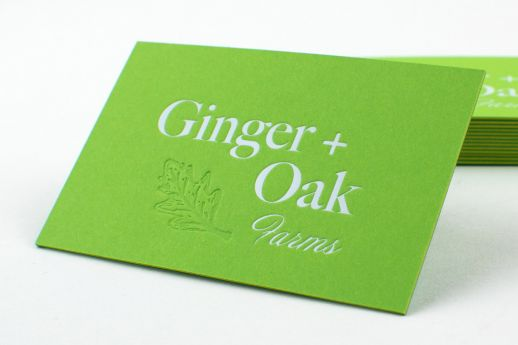 Senses Triplexed Business Cards 750gsm. Shamrock/Saffron Yellow/Botanical Green stocks, with white gloss foil and blind debossing.