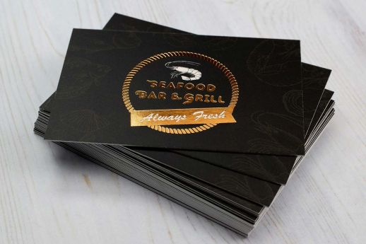 Bronze hot foil stamping on matt laminated 450gsm business cards