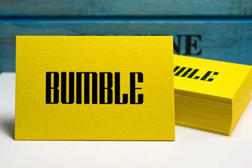 Colorplan Factory Yellow Business Cards 700gsm with gloss black foil stamping