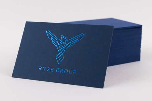 Colorplan business card with metallic blue foil stamp