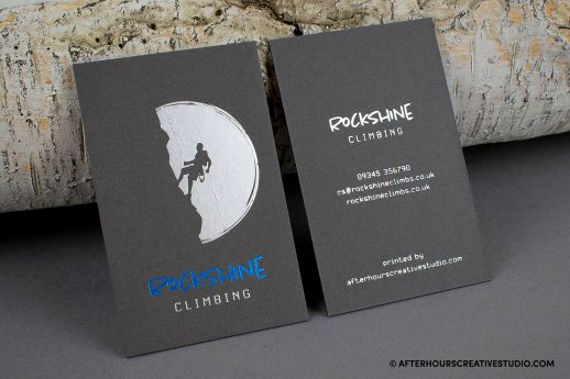 Dark Grey Colorplan 700gsm Business Cards with satin silver and blue metallic foil blocking.