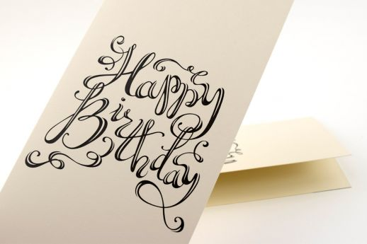 Conqueror Wove cream greeting card, with double-sided printing.