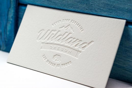 Cotton business card with blind deboss impression