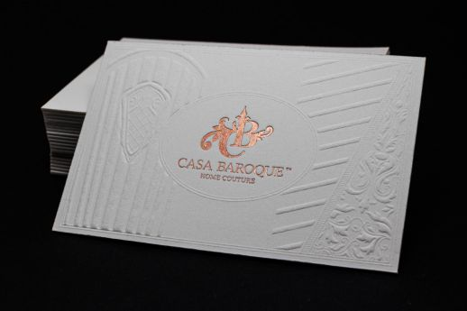Cotton foil debossed business card