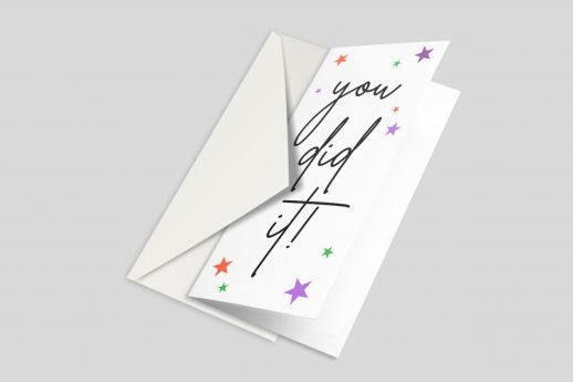 Silk Greeting card with full colour printing, DL size, with envelope.