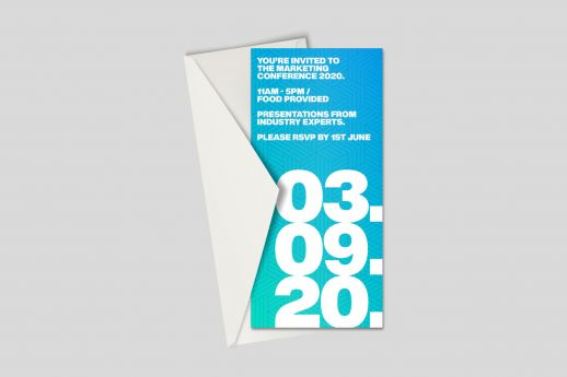 Gloss Laminated DL Invitation with full colour printing, on 450gsm silk board and envelope.