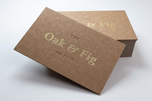Kraft business cards with matt gold foil and blind debossing