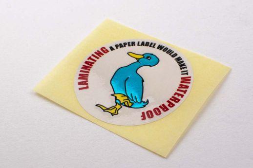 blue foil embossed sticker