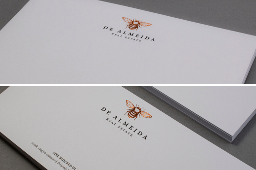 Foiled blocked Stationery bundle on 120gsm stock with single-sided printing and copper metallic foil.