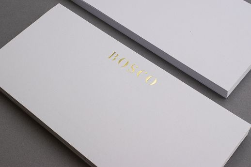 Gold foil blocked DL compliment slips.