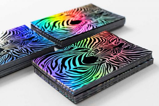 Holographic Rainbow Business Cards 550gsm, with digital colour printing.