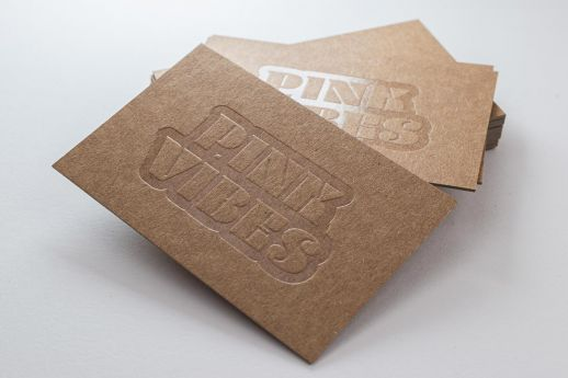 Clear gloss debossed Kraft business card