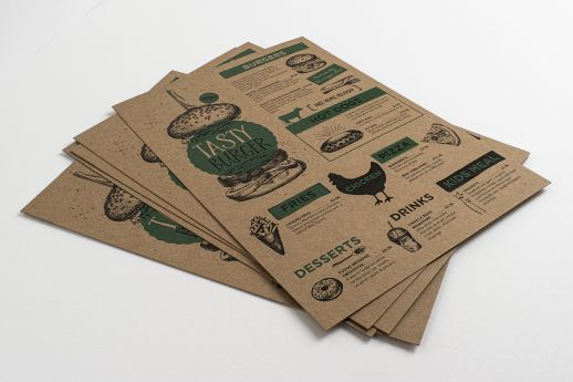 Natural style with Kraft flyers with full colour printing.
