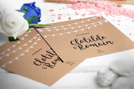 Kraft white ink invitations