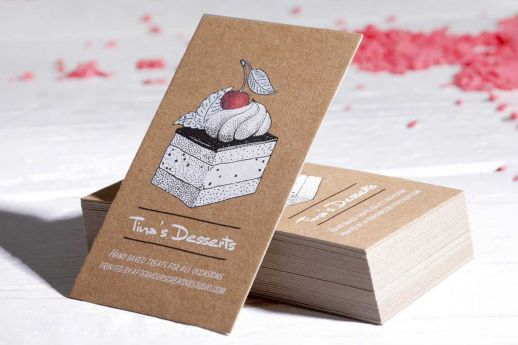 White ink kraft business cards