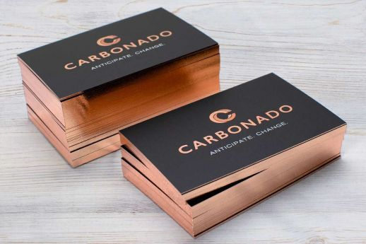 Rose gold foil edge gilded business cards