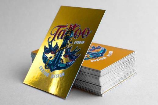 Metallic Reflective Gold Business Cards 660gsm, with colour printing on two sides.