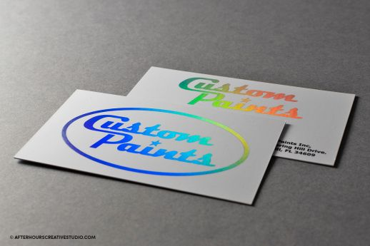 Rainbow foil business cards