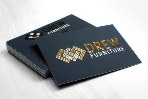 Raised gold metallic foil business card