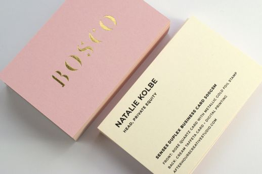 Senses Duplexed 500gsm Business cards with metallic gold foil and black ink printing.