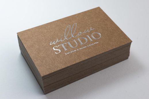Silver foil stamped Kraft business card 700gsm