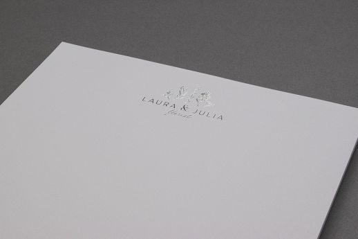Metallic silver foil blocked letterheads on 160gsm.