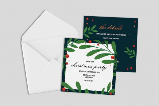 Square Silk Invitation with single-sided printing and envelope.