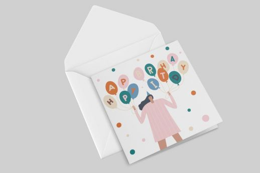 Square Uncoated Greeting Card on premium 350gsm, with double-sided printing.