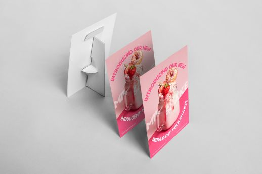 A size Strut Cards with stand with single-sided printing.