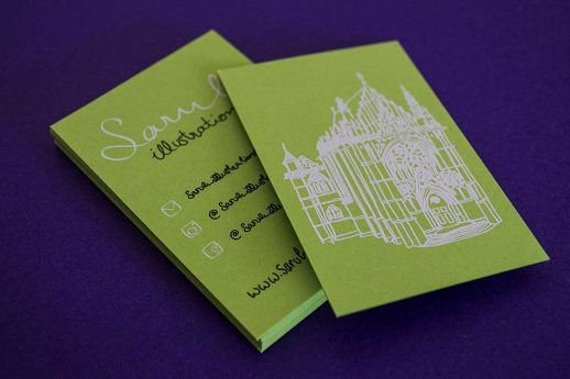 Vanguard lime green card stock with white ink and black ink printing.