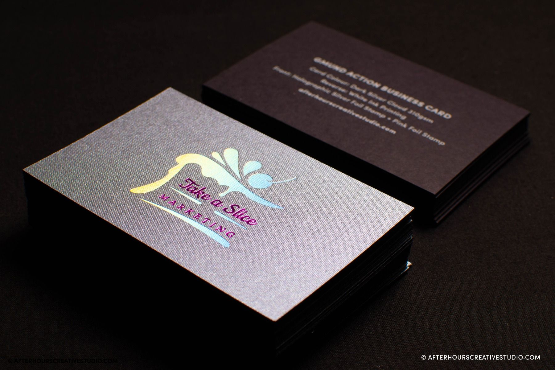 Gmund Action Dark Silver Cloud Business Cards with foil stamping and white ink printing