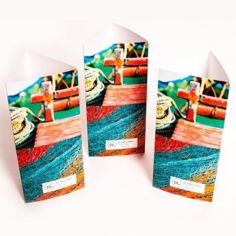 Colourfully vibrant DL Table Talkers.
