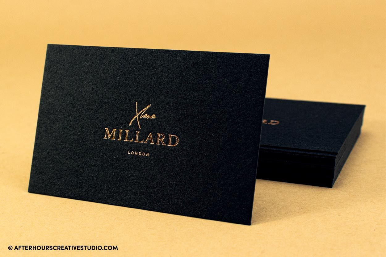Black wild cotton business card with rose gold foil stamping
